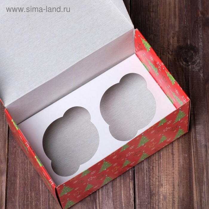 """Коробка на 2 капкейка """"Ёлки красные"""", 16 х 10 х 8 см"""