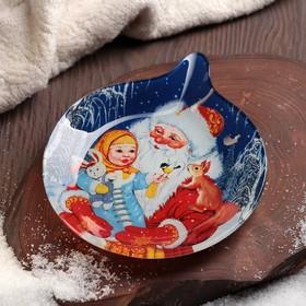 Блюдо сервировочное Доляна «Ёлочная игрушка. Дедушка Мороз», 18×15,2×2 см