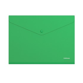 Папка-конверт на кнопке, пластиковая, ErichKrause Classic, непрозрачная, A4, зелёная