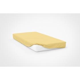 Простыня на резинке, размер 120 × 200 см, трикотаж, цвет жёлтый