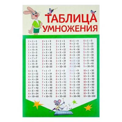"Плакат ""Таблица умножения"" союзмультфильм, заяц, А3"