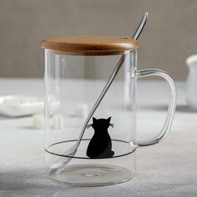 Кружка «Котик», с крышкой и ложечкой, 450 мл, МИКС