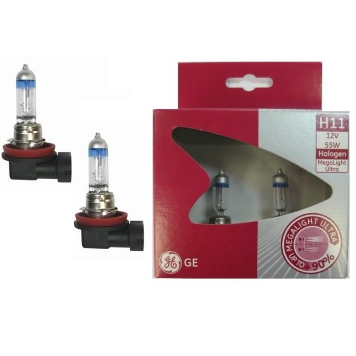 Лампа автомобильная General Electric Megalight Ultra +90%, H11, 12 В, 55 Вт, 53110SXU
