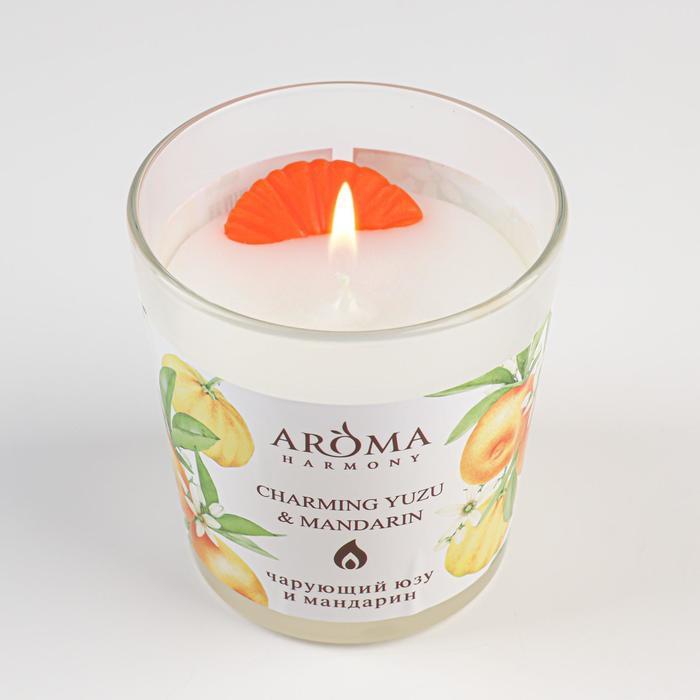 """Ароматическая свеча Aroma Harmony """"Ароматическая Юзу и Мандарин"""",140 г"""