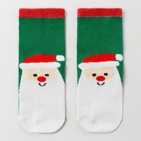 Носки детские «Мишка с подарком», цвет зелёный, размер 16-18 Ош