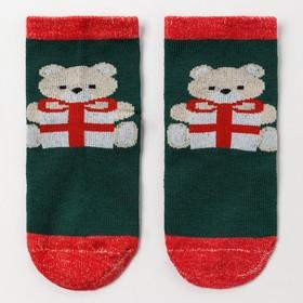 Носки детские «Мишка с подарком», цвет зелёный, размер 18-20 Ош