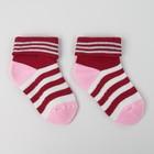 Носки детские махровые, цвет бордовый, размер 20-22