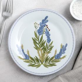 Тарелка пирожковая Доляна «Лаванда», d=19 см, цвет белый