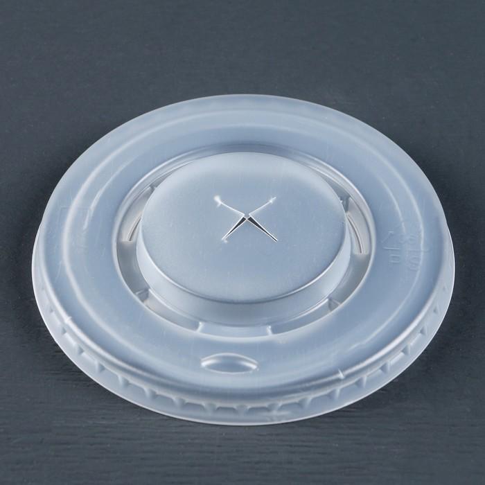 Крышка одноразовая на стакан Прозрачная для трубочки, 90 мм