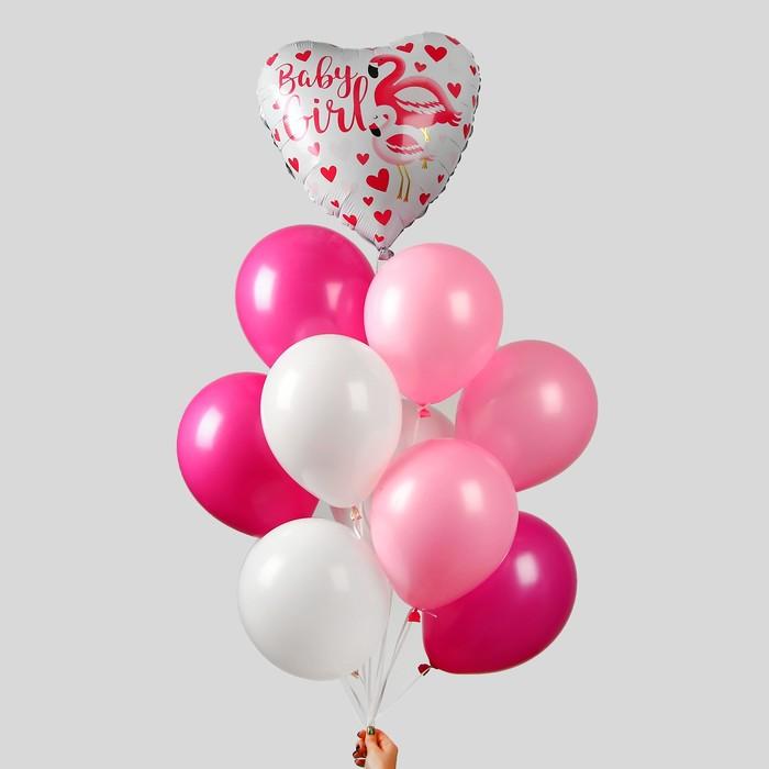 """Букет из шаров """"Розовый фламинго"""", в наборе 10 шт."""