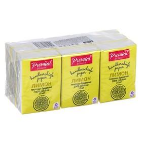 Платочки бумажные «Premial»  3,сл с ароматом лимона, мини Ош