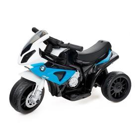 Электромотоцикл BMW S1000 RR, кожаное сидение, цвет синий Ош