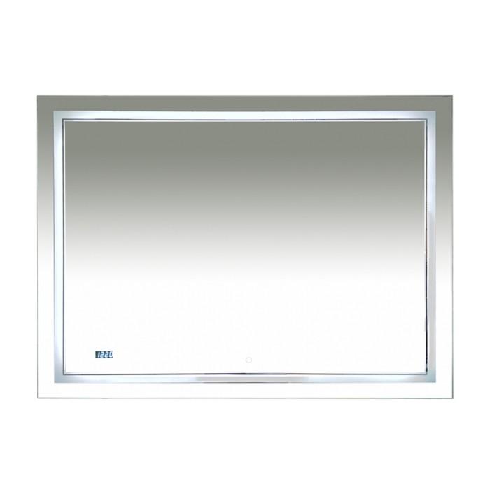 Зеркало 2 Неон - LED 1200х800 сенсор на зеркале + часы (двойная подсветка)