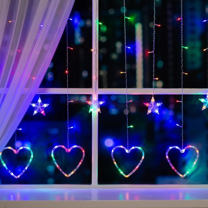 """Гирлянда """"Бахрома"""" 2.4 х 0.9 м с насадками """"Сердце"""", IP20, прозрачная нить, 186 LED, свечение мульти, 8 режимов, 220 В"""