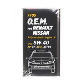 Масло моторное MANNOL 5w40, синтетическое, Renault, Nissan, Infiniti, 1 л