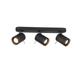Светильник FANALE, 3x3Вт GU10 LED, цвет чёрный, хром