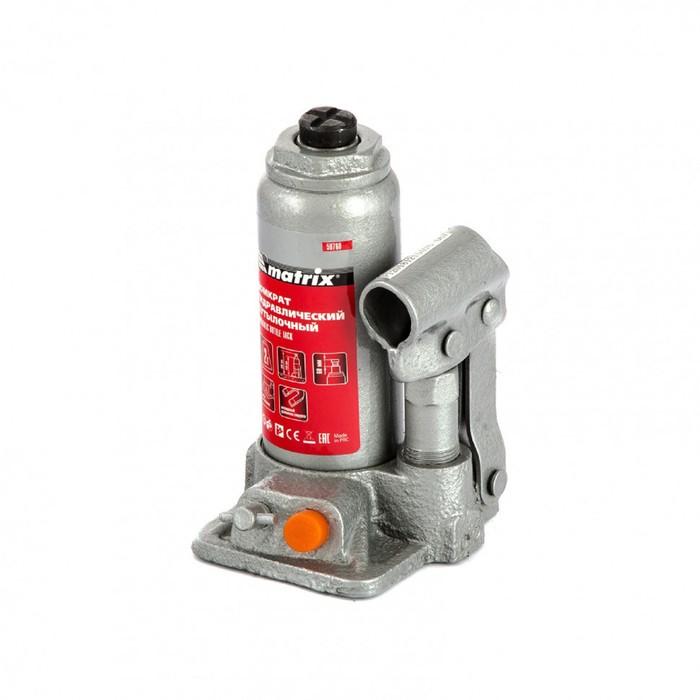 Домкрат гидравлический MATRIX 50760, бутылочный, 2 т, высота подъема 158-308 мм