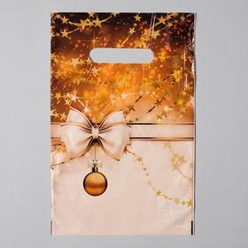 Пакет 'Блеск золота', полиэтиленовый с вырубной неусиленной ручкой, 20х30 см, 35 мкм Ош