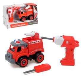 Конструктор винтовой «Пожарная», с электрическим шуруповертом, радиоуправляемый, 31 деталь Ош