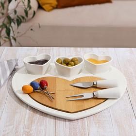 Блюдо для подачи «Эстет.Сердце», 8 предметов: 3 соусника 8×6×4 см, 3 шпажки, нож, вилочка