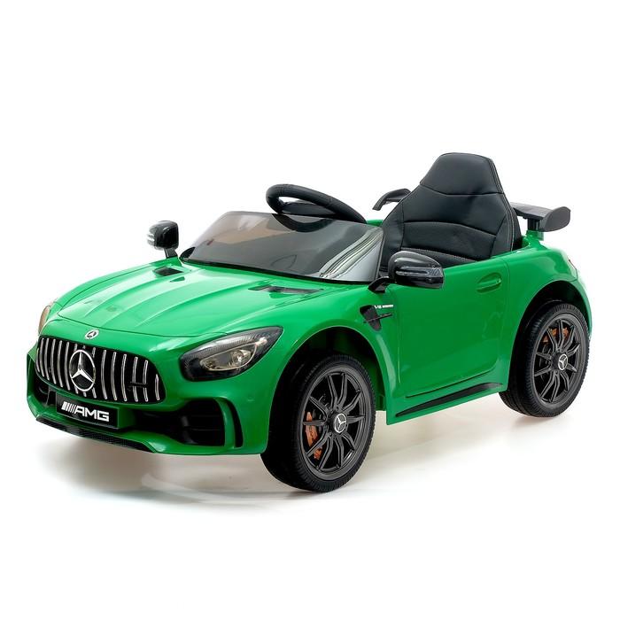 """Электромобиль """"MERCEDES-BENZ GT-R AMG"""", окраска зеленый, EVA колеса, кожаное сидение"""