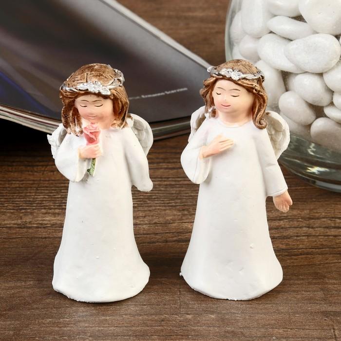 Сувенир полистоун Ангел в белоснежном платье с веночком на голове МИКС 7,5х3,3х3 см