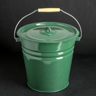 Ведро с крышкой, 12 л, цвет зелёный
