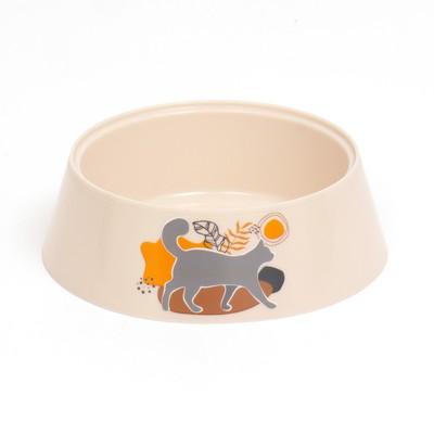 Миска Cats 0,3 л, 14,5 x 14,5 x 4 см, бежевая - Фото 1