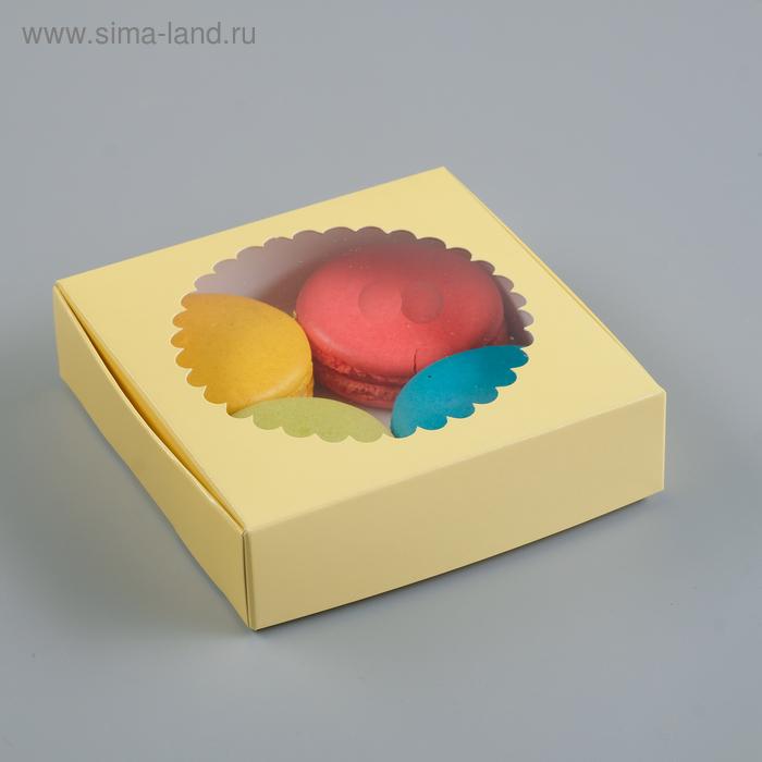 Подарочная коробка сборная с окном, бежевый, 11,5 х 11,5 х 3 см