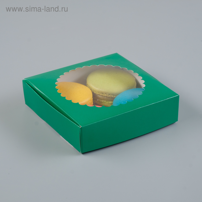 Подарочная коробка сборная с окном, тёмно-зелёный, 11,5 х 11,5 х 3 см