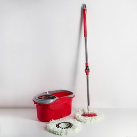 Набор для уборки: ведро с металлической центрифугой 16 л, швабра, доп. насадка, дозатор, цвет МИКС Ош