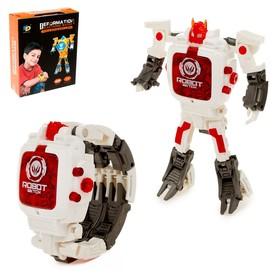 Робот-трансформер «Часы», трансформируется в часы, работает от батареек, цвет белый