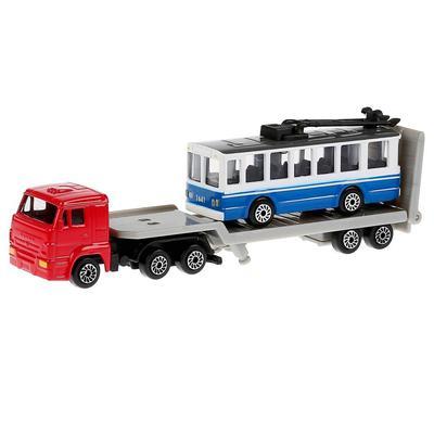 Машина металлическая «Камаз перевозчик с троллейбусом»15,5 см, 8 см - Фото 1