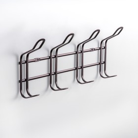 Вешалка настенная на 4 двойных крючка Доляна «Симпл», 28,5×14×5 см, цвет коричневый матовый