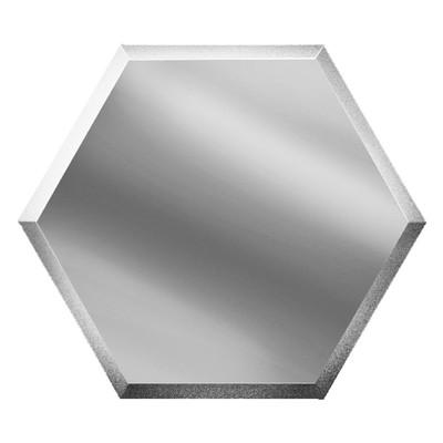 Зеркальная серебряная плитка «Сота» с фацетом 10 мм, 200х173 мм
