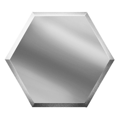 Зеркальная серебряная плитка «Сота» с фацетом 10 мм, 250х216 мм