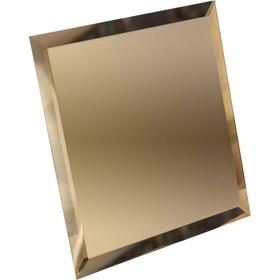 Квадратная зеркальная бронзовая плитка с фацетом 10 мм, 180х180 мм