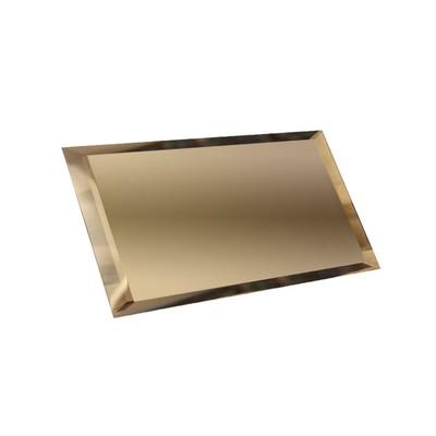 Прямоугольная зеркальная бронзовая плитка с фацетом 10 мм, 240х120 мм