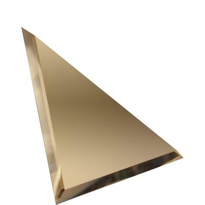 Треугольная зеркальная бронзовая матовая плитка с фацетом 10 мм, 200х200 мм
