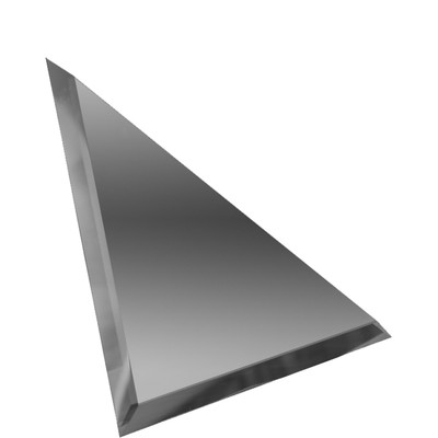 Треугольная зеркальная графитовая матовая плитка с фацетом 10 мм, 180х180 мм