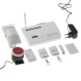 Охранный GSM комплект сигнализаций, модель SEC-01, 4-проводных и 6-беспроводных зон, белый Ош