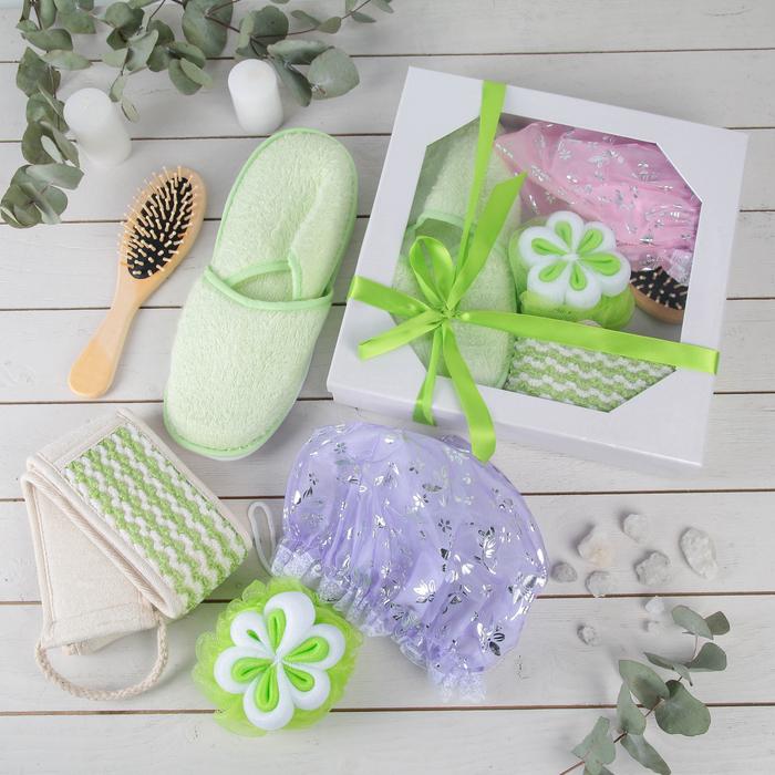 Набор банный подарочный, 5 предметов: 2 мочалки, расчёска, тапочки, шапочка для душа, цвет МИКС