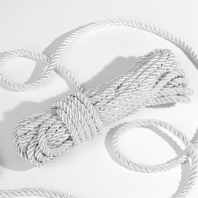 Шнур витой, d = 8 мм, 10 ± 1 м, цвет серебряный Ош