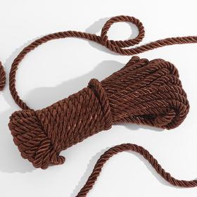 Шнур витой, d = 8 мм, 10 ± 1 м, цвет коричневый Ош