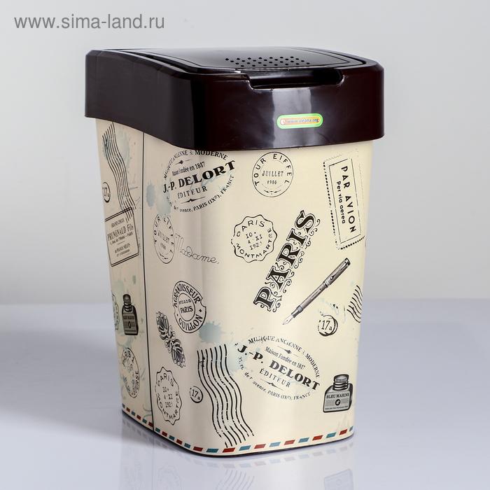 "Ведро для мусора 10 л ""Париж"", цвет коричневый"