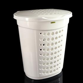 Корзина для белья с крышкой 60 л, 50×37×57 см, цвет белый