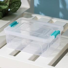 Контейнер для хранения с крышкойАлеана Smart Box, 650 мл, 16×12×6 см, цвет прозрачно-бирюзовый