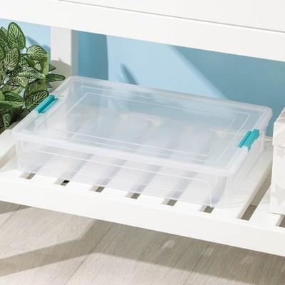 Контейнер для хранения с крышкой Smart Box, 5,5 л, 39×29×7 см, цвет прозрачно-бирюзовый