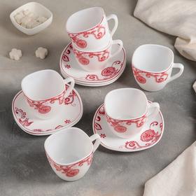 """Сервиз чайный 12 предметов """"Красные цветы"""""""