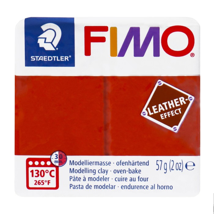 Полимерная глина запекаемая FIMO leather-effect (с эффектом кожи), 57 г, ржавчина
